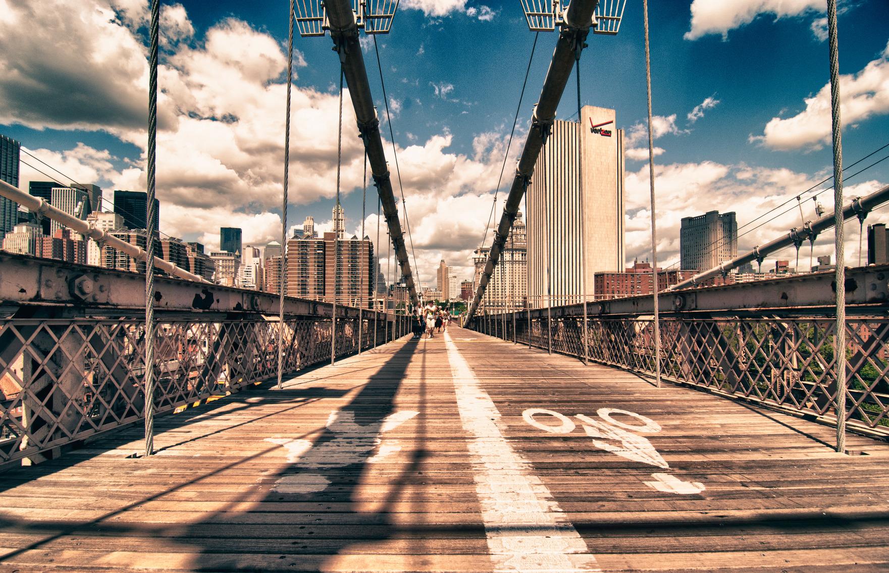 Brooklyn Bridge view in New York City, U.S.A.